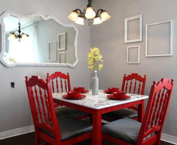 Стены «грифель» вместе с шикарной красной мебелью