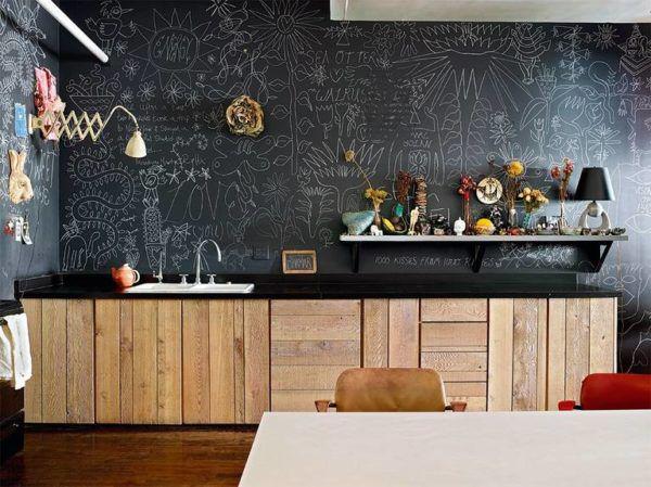 Стены кухни отделаны специальным материалом, на котором можно писать мелом
