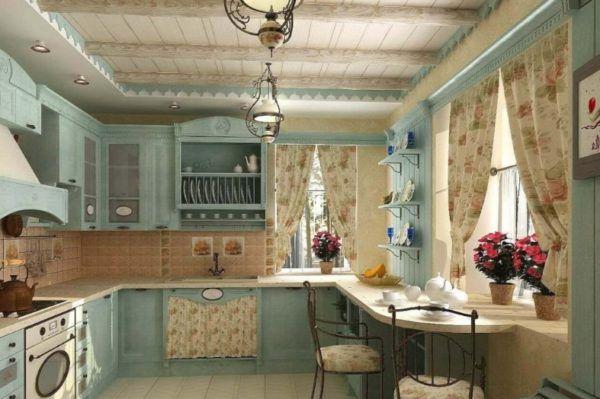 Стиль прованс с оттенком средиземноморского стиля с деревенскими люстрами