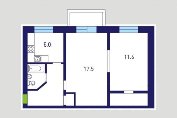 Схема планировки двухкомнатной квартиры со смежными комнатами