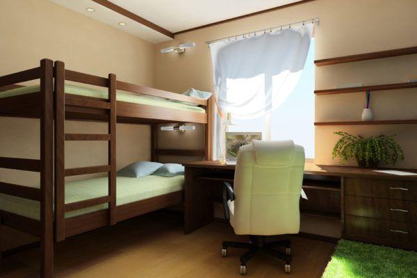Также можно использовать двухъярусные кровати