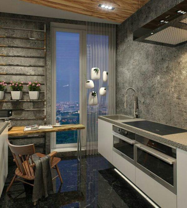 Темная глянцевая плитка на полу кухни отлично сочетается с общим интерьером
