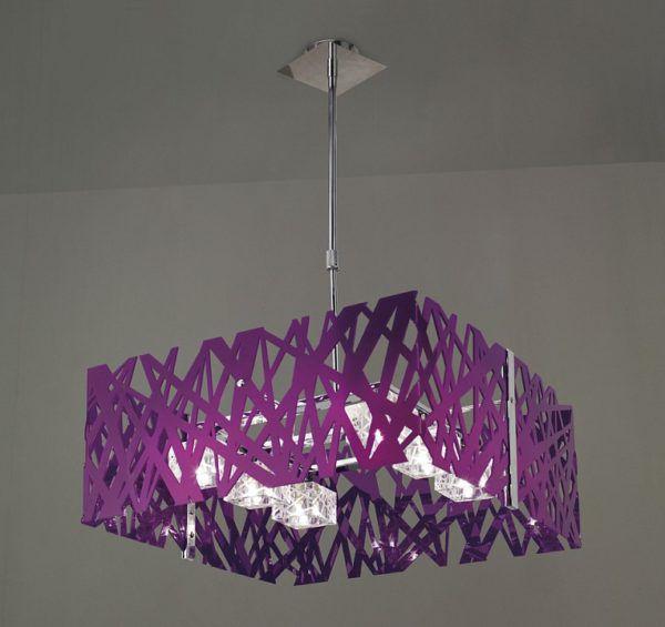 Фиолетовая люстра на кухне