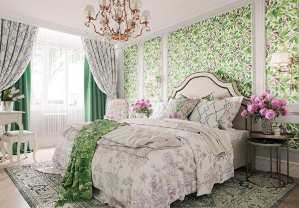 Цветы в вазах придают особый колорит в спальне