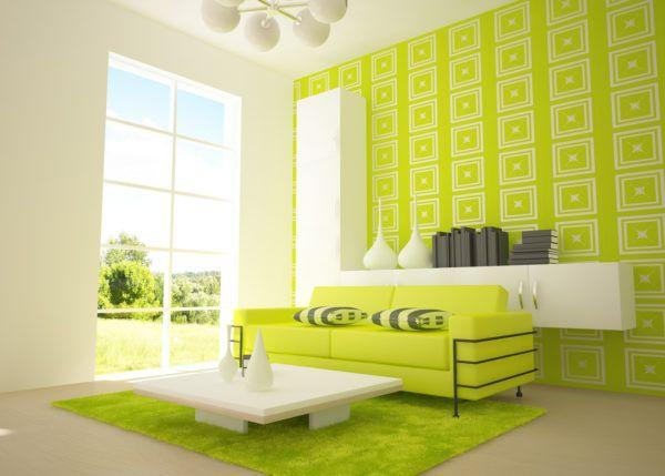 Цвет лайм в интерьере гостиной