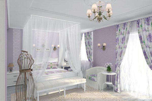 Цвет штор прованс для спальни подбирается по цвету кровати и расположенном на ней покрывале