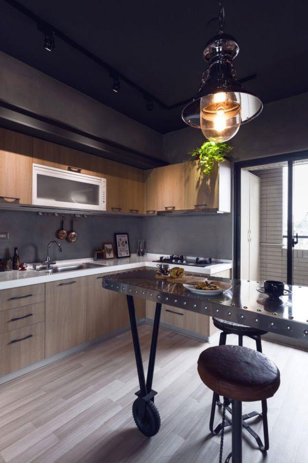 Черно-белое оформление кухни в стиле лофт