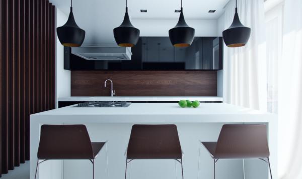 Черные люстры на кухне