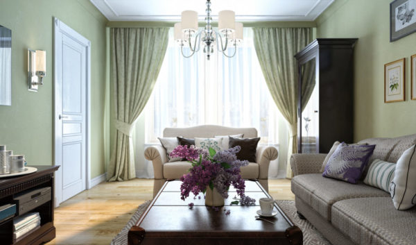 Четкая геометрия мебели, на окнах – жалюзи