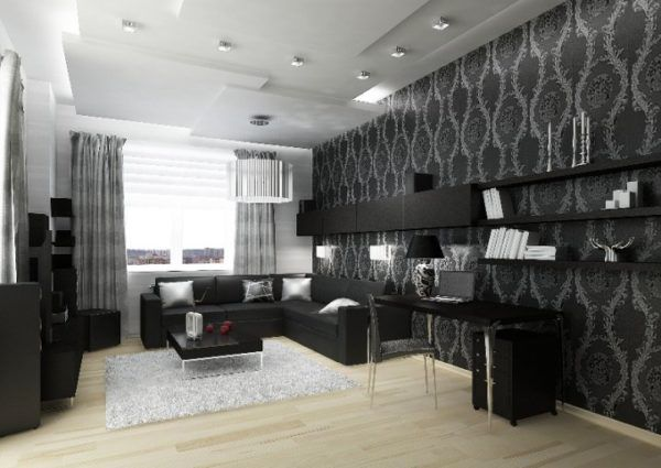 Шикарная черная мебель в уютной комнате