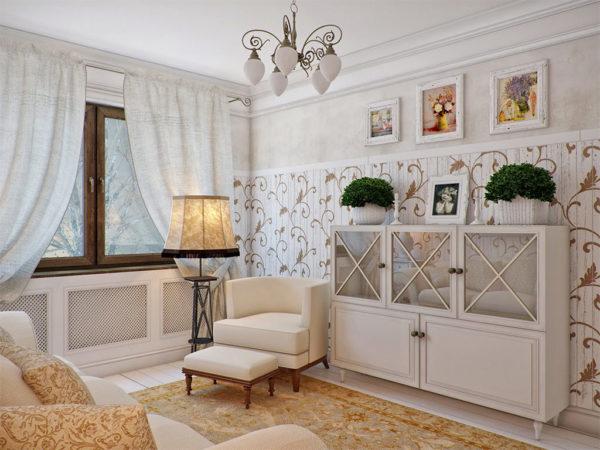 Элегантность и естественность интерьера гостиной с изображениями пейзажей, моря, солнца, растений