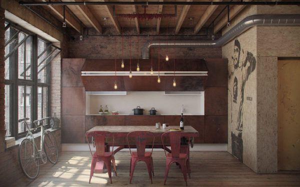 Эффектная кухня в стиле лофт с деревянной мебелью