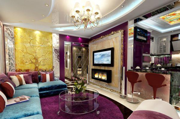 Яркая роскошная гостиная в стиле Арт-деко