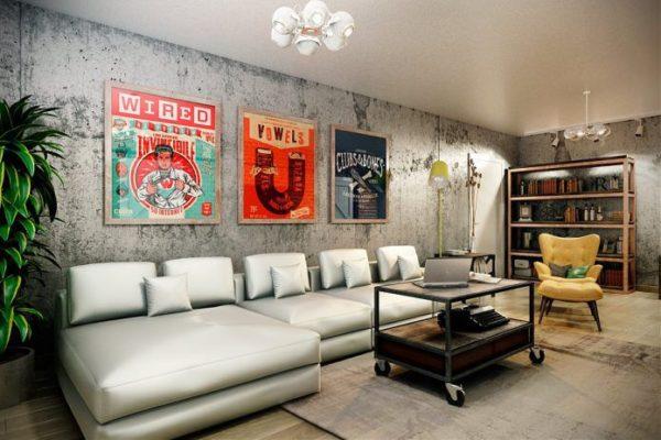 Яркие плакаты в комнате стиля лофт