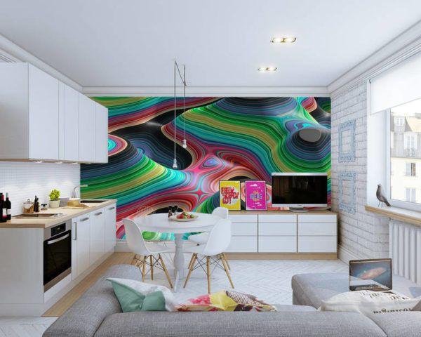 Яркий акцент кухни стена с 3D с объемной печатью