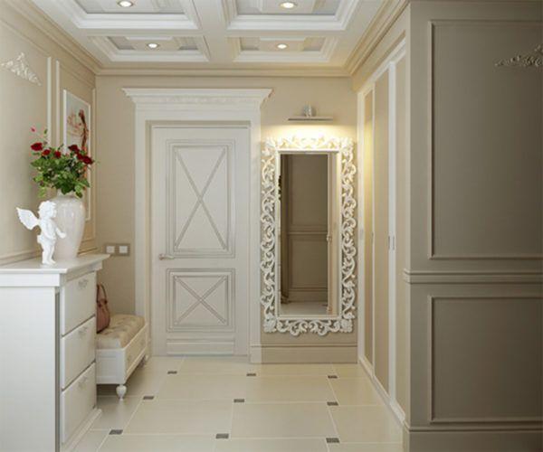 Сочетание белого и бежевого цвета в интерьере прихожей отличный дизайнерский ход1