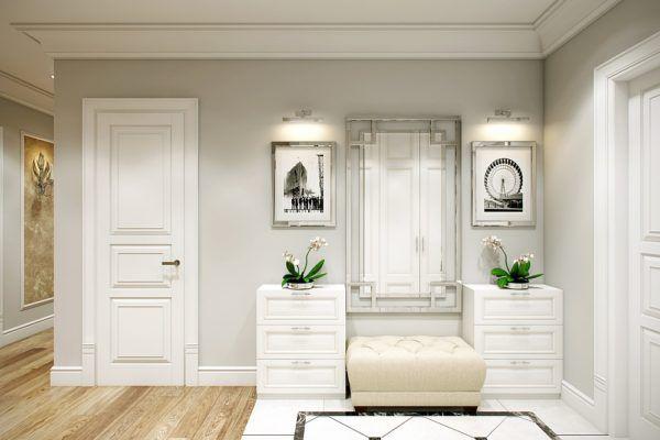 Прихожая, выполненная в светлых тонах, создает ощущение чистоты и уюта