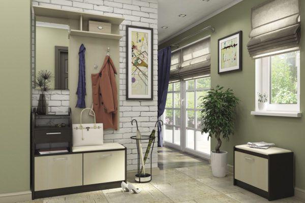 Прихожая в стиле лофт с использованием маленького комода и вешалки для одежды