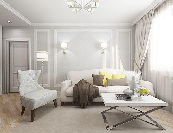 Интерьер гостиной в светлых тонах визуально расширяет ее помещение