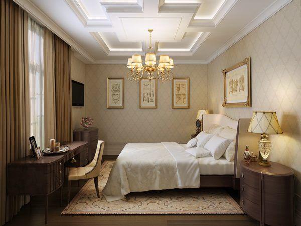 Сочетание золотистого и бежевого цвета в спальне