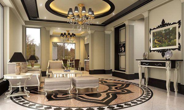 Роскошный интерьер комнаты в светлой гамме с применением мрамора на полу