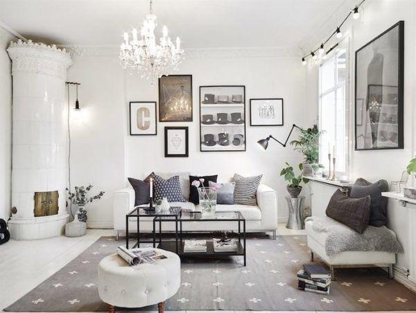 Просторная комната в светлых тонах в скандинавском стиле