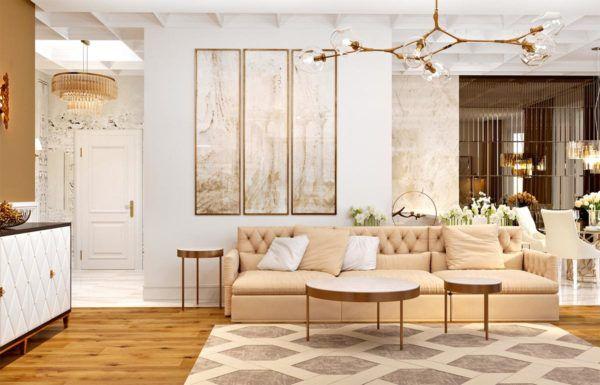 Интерьер комнаты в светлом тоне классического стиля