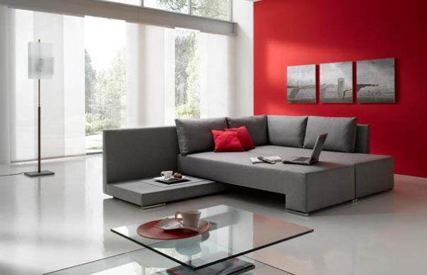 Интерьер комнаты с отличным сочетанием серого и красного цвета