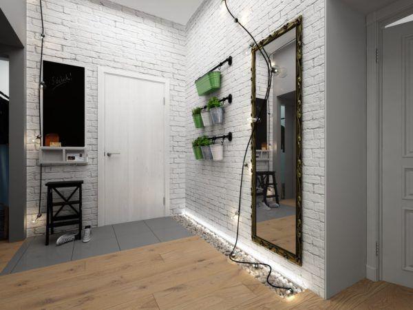 Интерьер прихожей в стиле лофт с цветочными горшками и минимумом мебели