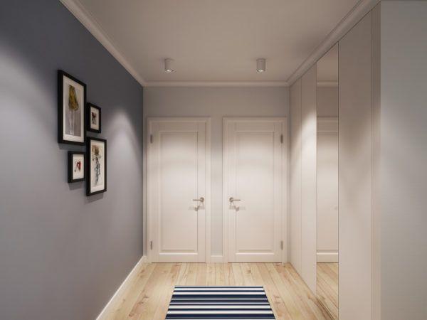 Применение светлых оттенков в интерьере маленькой прихожей визуально делают помещение шире