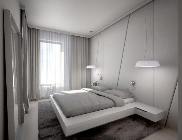 Интерьер спальни с применением оттенков серого цвета и белого цвета