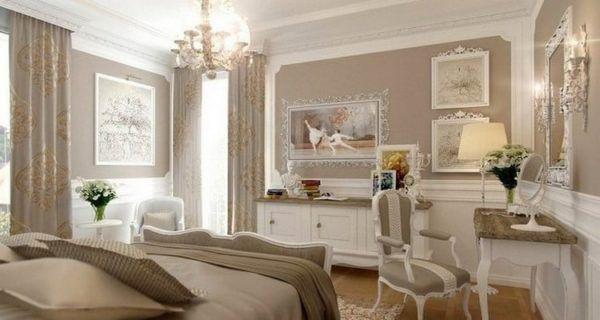 Спальня с применением бежевого и белого цвета в интерьере