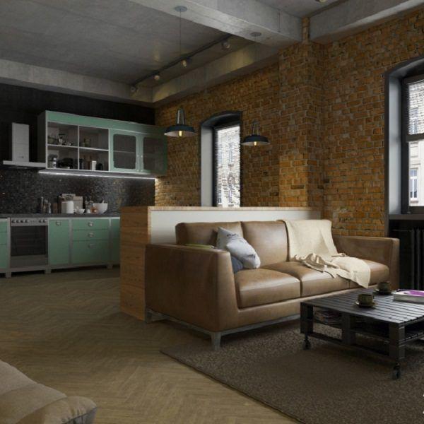 Зонарным порогом служит диван, подкрепленный массивной стойкой. Несмотря на маленькие окна, искусственное освещение не акцентировано