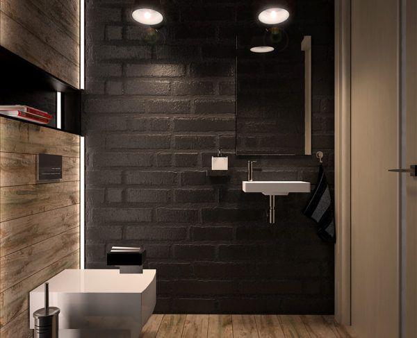 """Туалет с искусственным освещением советуется оформить в темных тонах. """"Давить"""" на голову они не будут"""