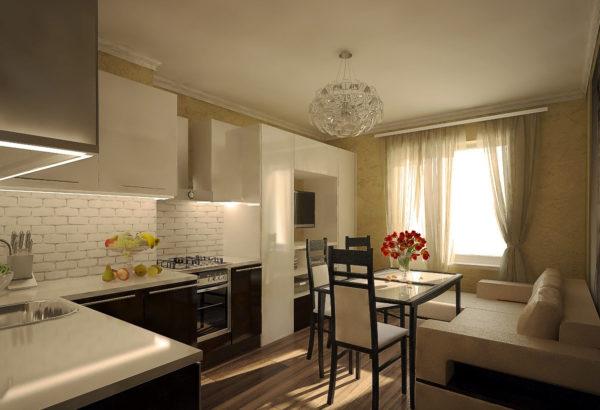 Безупречный цвет кухни-гостиной