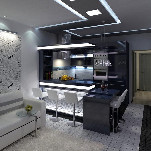 Большая кухня-гостиная с большим количеством света