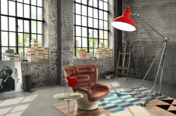 Большой напольный светильник в интерьере комнаты стиля Лофт