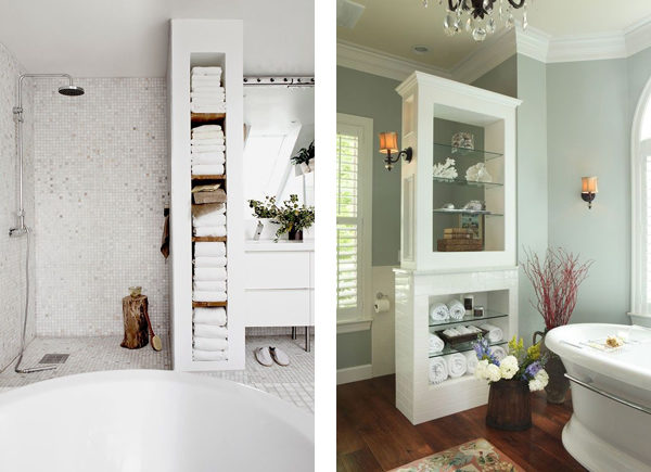 Варианты светлых ванных комнат с применением искусственных цветов, как элементов декора