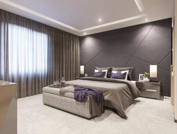 Вариант спальни с удобным и комфортным функционалом (освещение, элементы декора)