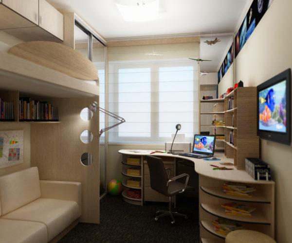 Визуально расширить короткую стену поможет угловая мебель