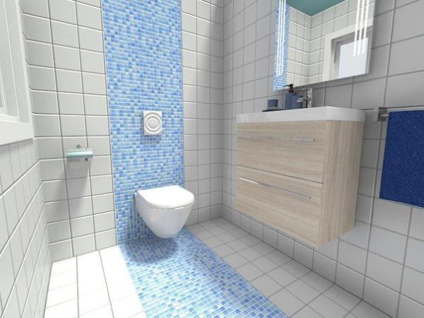 Выделение зоны в ванной комнате при помощи плитки