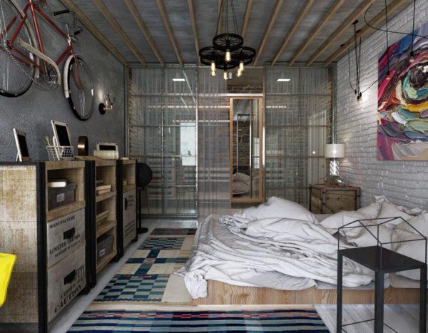 Дизайн потолочной люстры гармонично сочетается с общим интерьером спальни в стиле Лофт