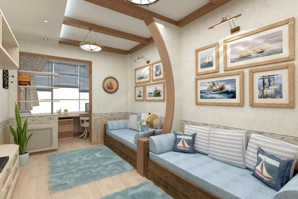 Для зонирования пространства используется часть потолка