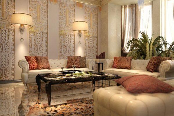 Интерьер в стиле Арт-деко наполнен теплотой и золотистыми переливами