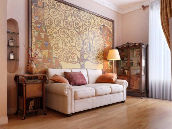 Картина на однотонной не загроможденной стене