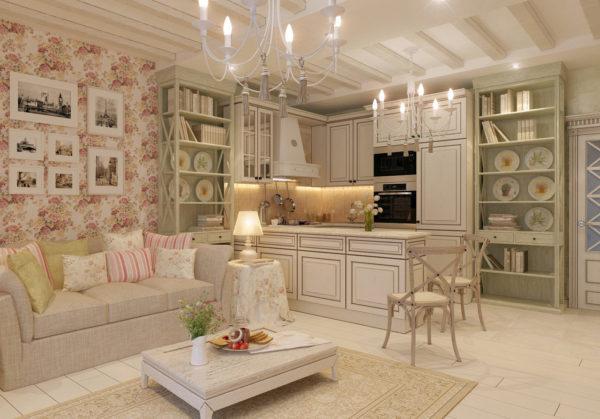 Классический бежевый ковер гармонично вписывается в общий интерьер комнаты стиля Прованс