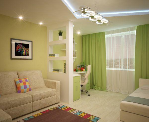 Комната с квадратным ковром