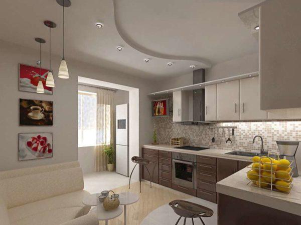 Мебель располагаем в противоположном от кухни углу — по диагонали