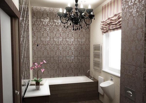 Металлические влагостойкие обои на стенах ванной комнаты