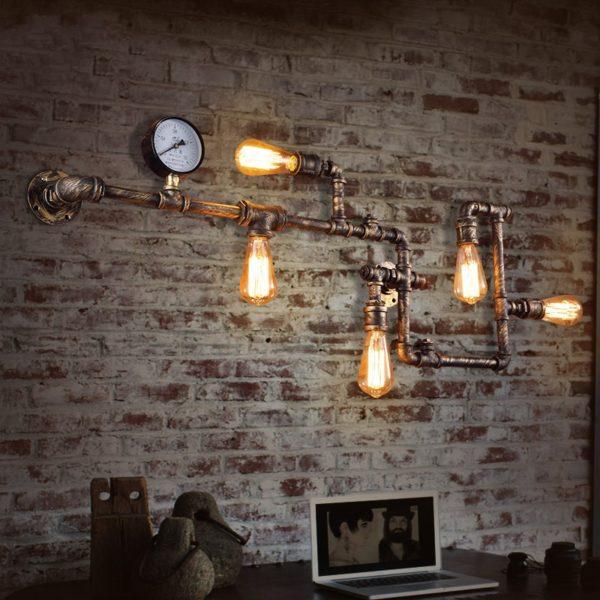 Модный светильник Лофт из водопроводных труб